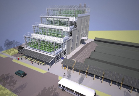 The five-story Vertical Farm will expand Growing Powers greenhouse and aquaponics operations currently spread over a two-acre site in the City of Milwaukee.